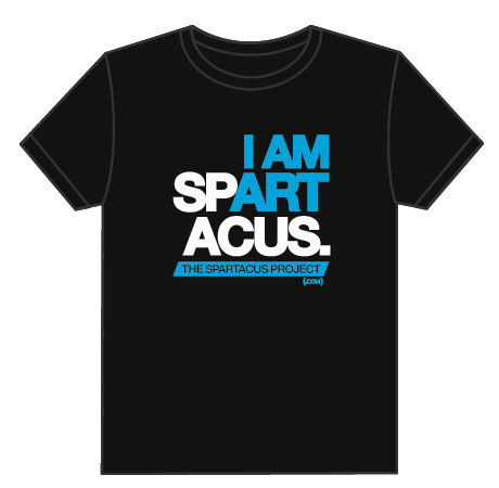 Men's Black I AM SPARTACUS t-shirt in White and Blue